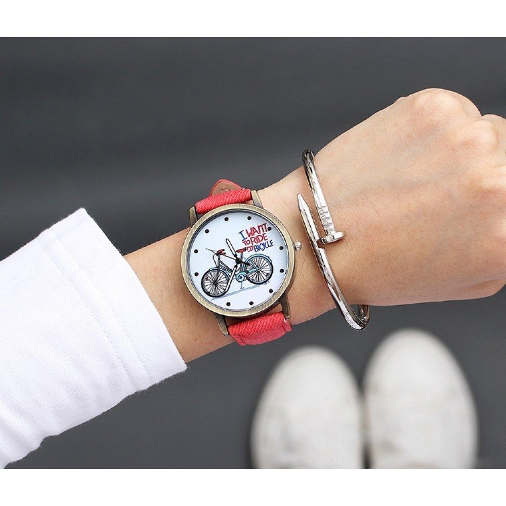 Женские Часы наручные JBRL Велосипед, красные 5574