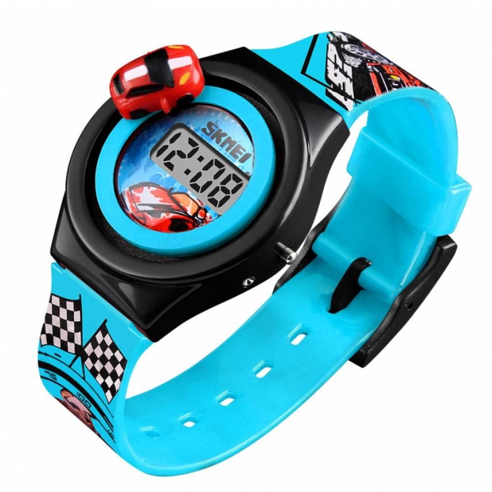 """Детские Часы наручные Skmei """"Машинка"""" голубые 5904"""