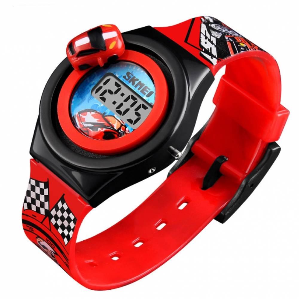 """Детские Часы наручные Skmei """"Машинка"""" красные 5906"""