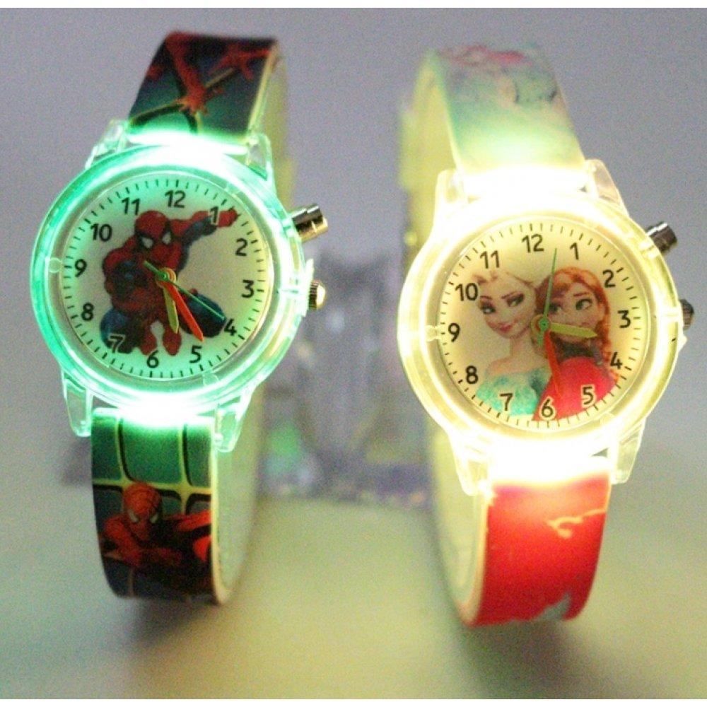 """Часы наручные Часики для детей """"Человек Паук"""" с подсветкой 6174"""