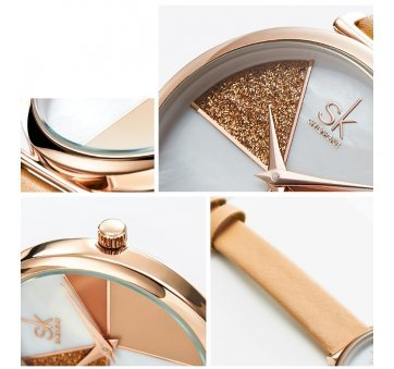 Женские Часы наручные SK, коричневые 6969