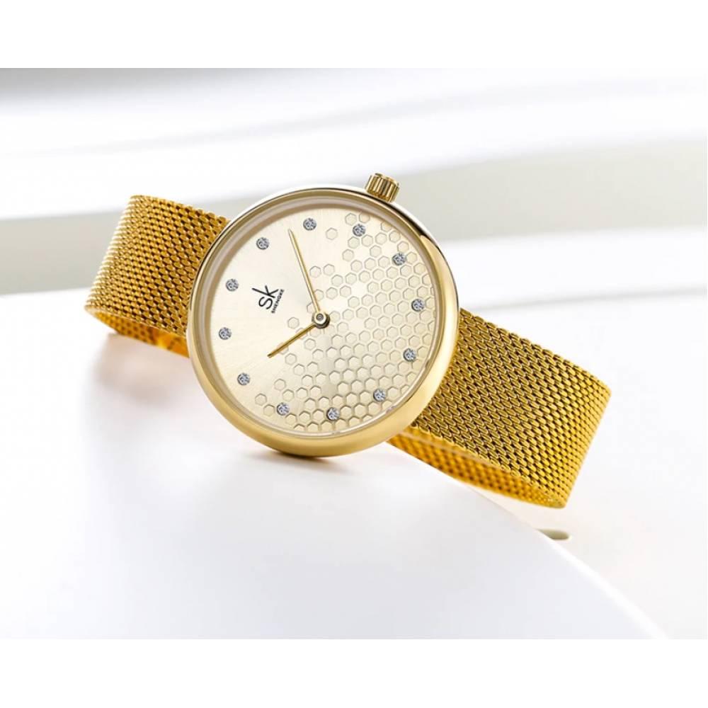 Женские Часы наручные SK, золотистые 6977