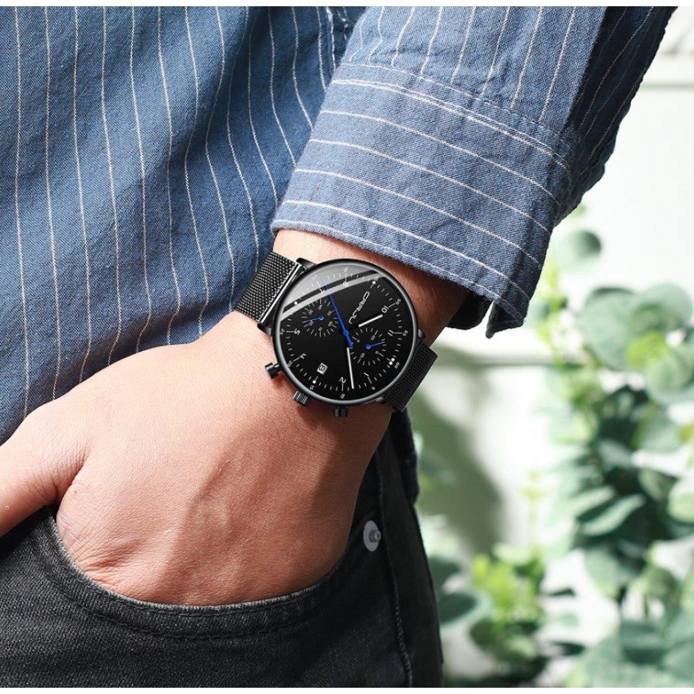Мужские Часы наручные CRRJU, черные 6984