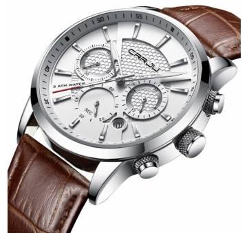 Мужские Часы наручные CRRJU,коричневые 6986