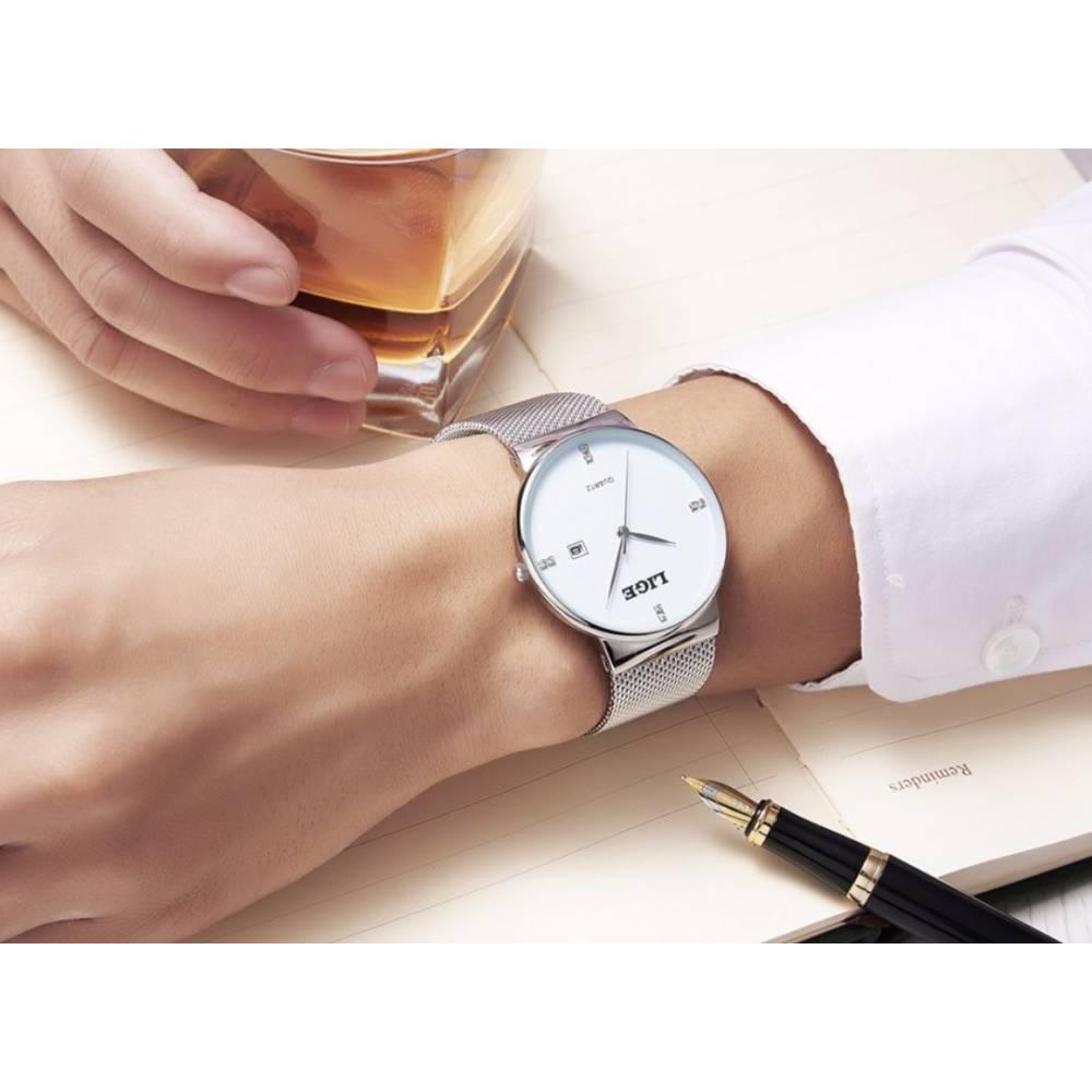 Мужские Часы наручные LIGE, серебристые 7195