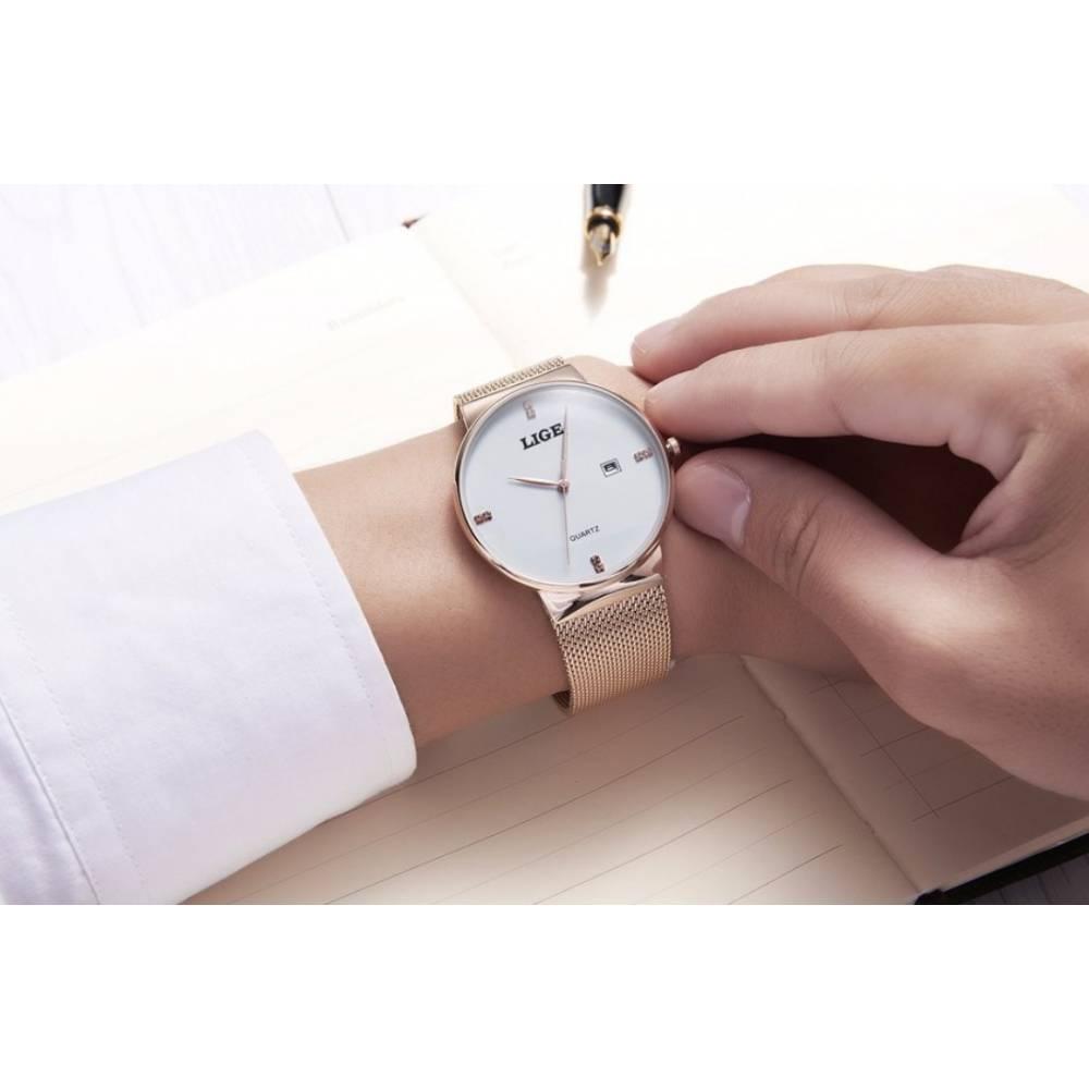 Мужские Часы наручные LIGE, золотистые 7196