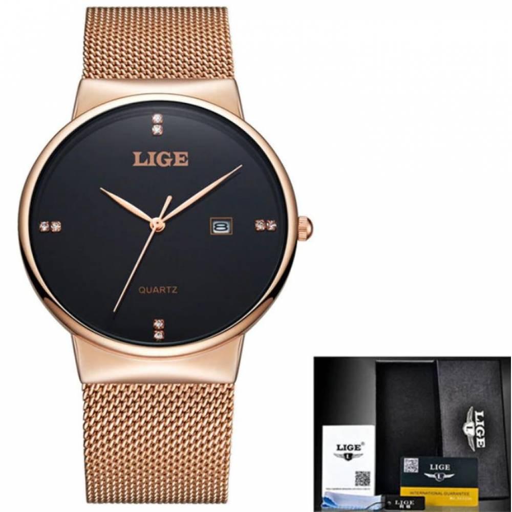 Мужские Часы наручные LIGE, золотистые 7199