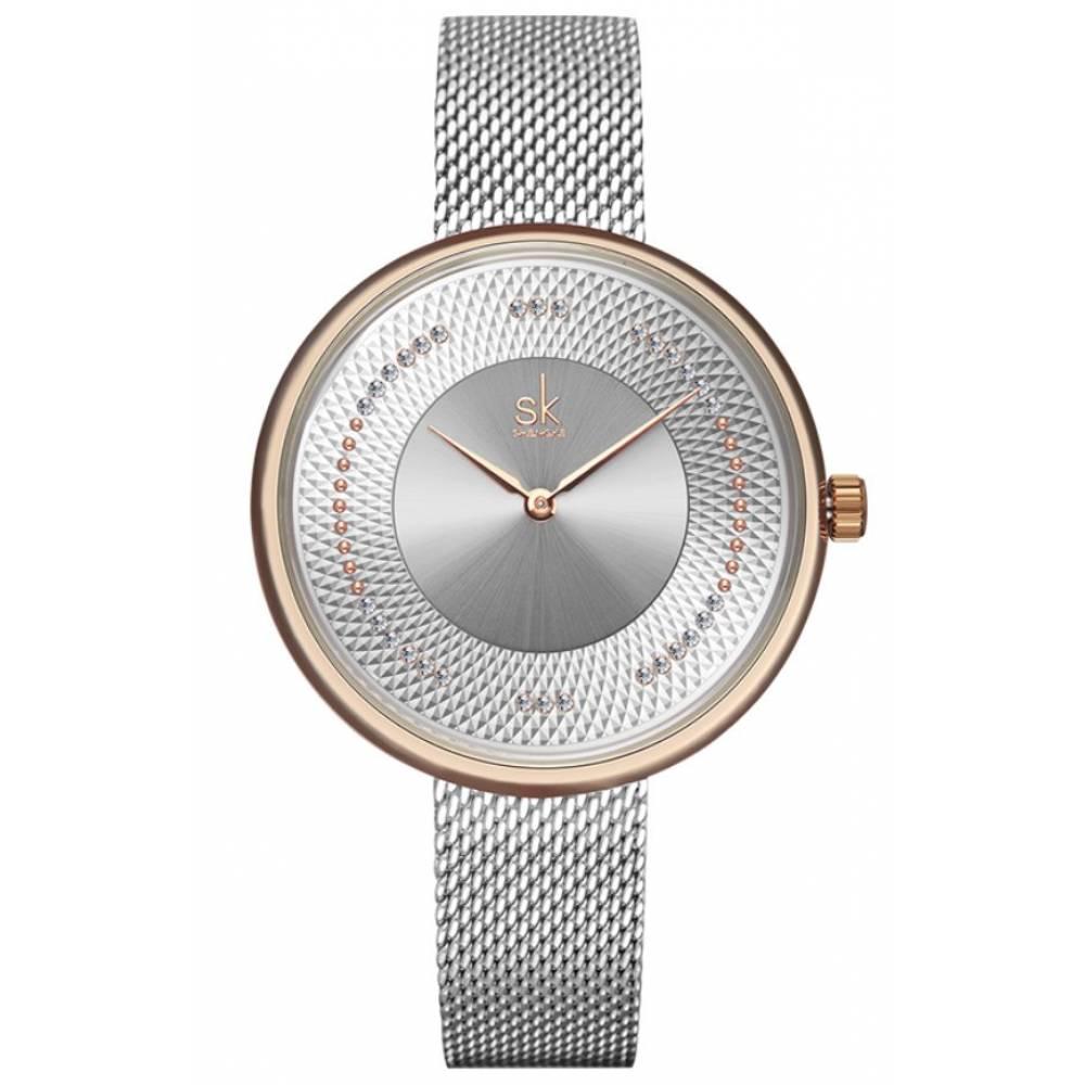 Женские Часы наручные SK, серебристые 7208