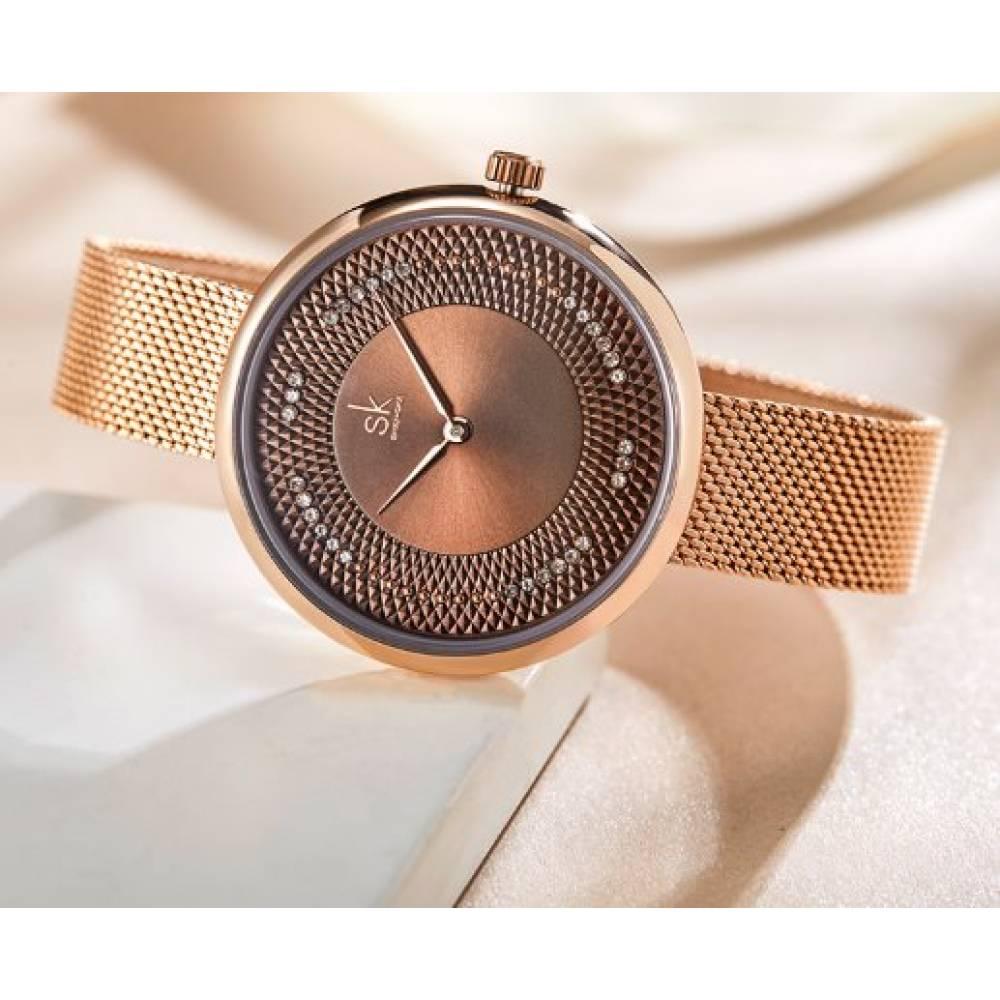 Женские Часы наручные SK, золотистые 7210
