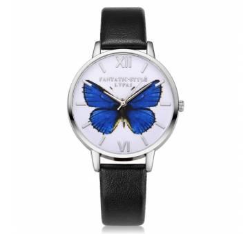 """Женские Часы наручные """"LVPAI"""" синяя бабочка, черные 7265"""