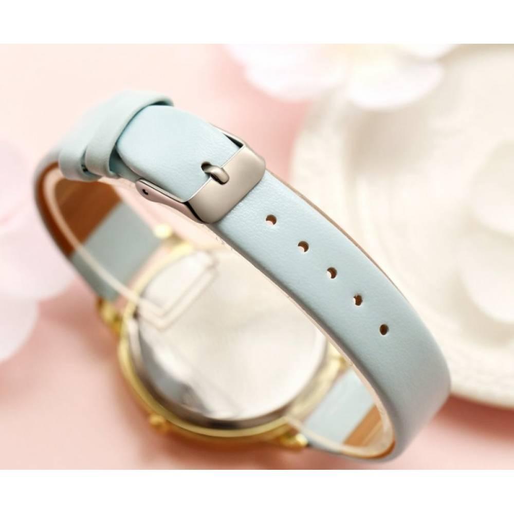 """Женские Часы наручные """"LVPAI"""" синяя бабочка, белые 7267"""