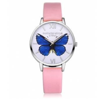"""Женские Часы наручные """"LVPAI"""" синяя бабочка, розовые 7268"""