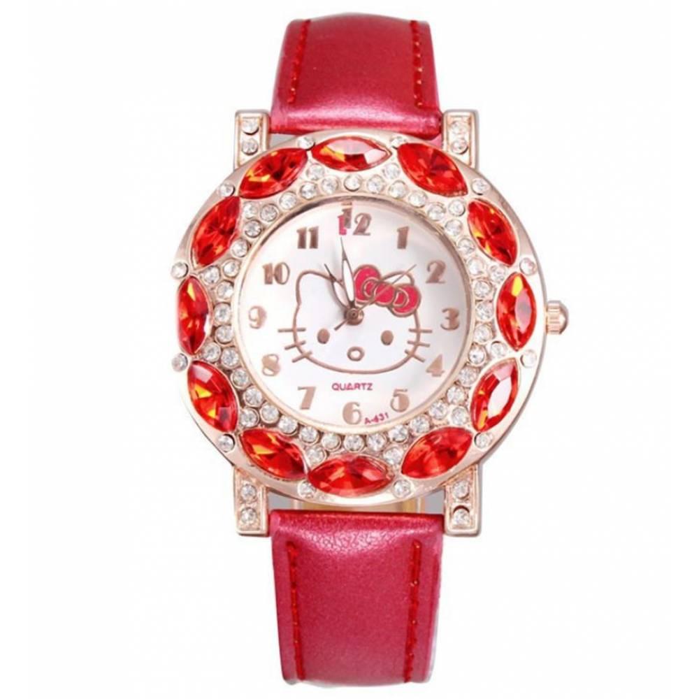 Детские Часы наручные Hello Kitty, красные 7575