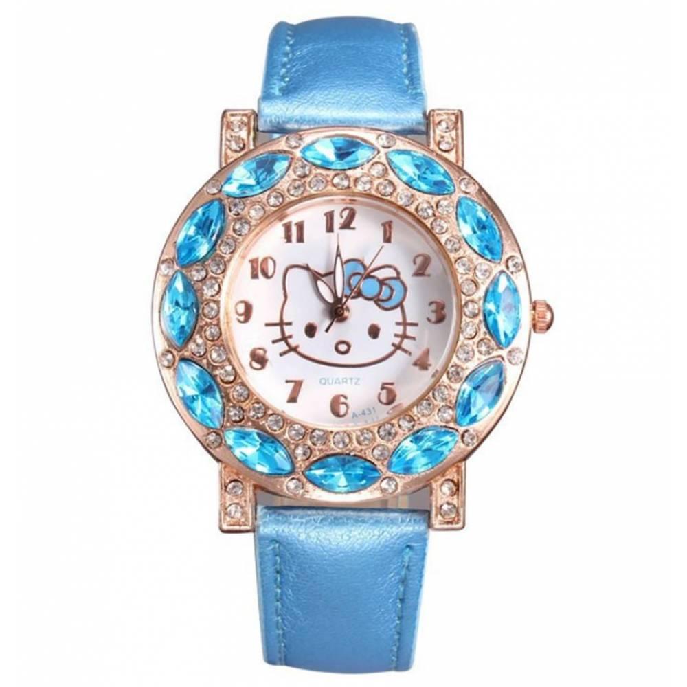 Детские Часы наручные Hello Kitty, голубые 7577