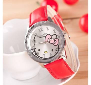 Детские Часы наручные Hello Kitty, красные 8235