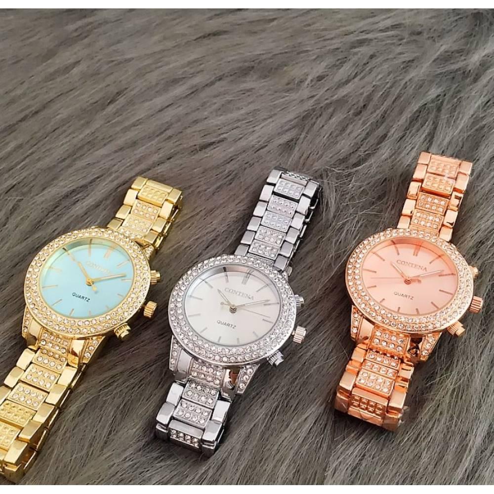 Часы наручные женские в камнях, серебристые 8333