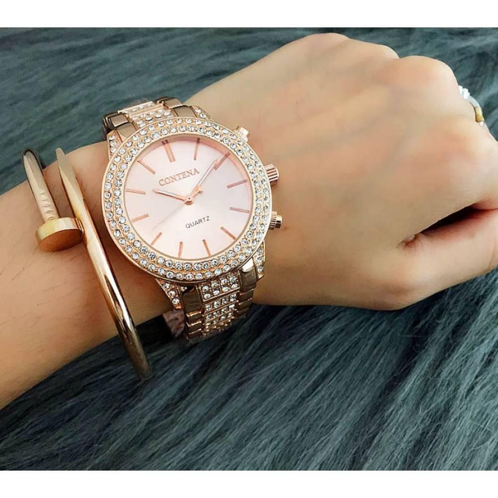 Часы наручные женские в камнях, золотистые 8335