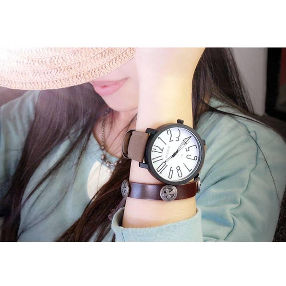 """Женские Часы наручные """"YAZOLE"""", коричневые 8338"""