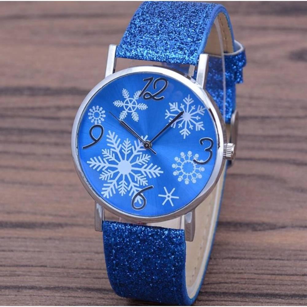 """Женские Часы наручные """"Снежинки"""", синие 8827"""