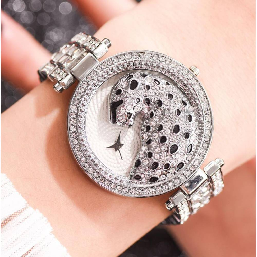 """Женские Часы наручные """"LVPAI"""" Леопард, серебристые 9043"""