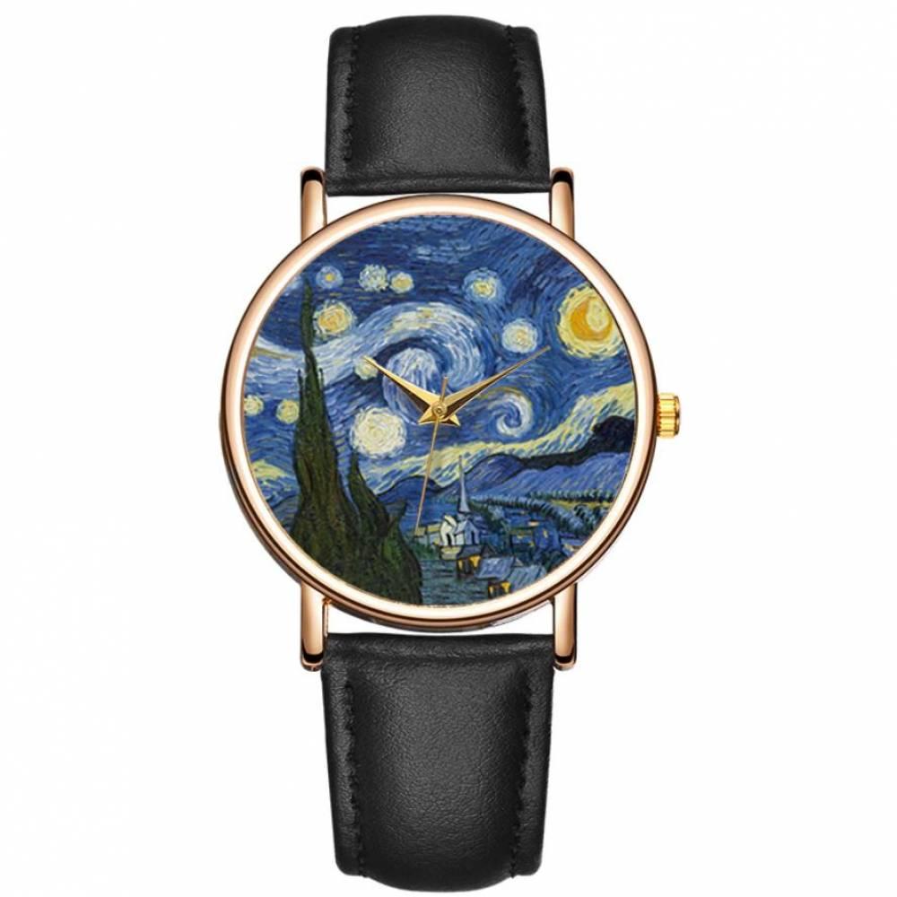 """Женские Часы наручные """"Ван Гог"""", черные 9425"""
