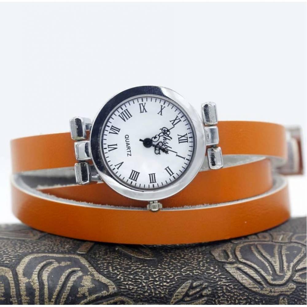 Женские Часы наручные с длинным ремешком, оранжевые 9429