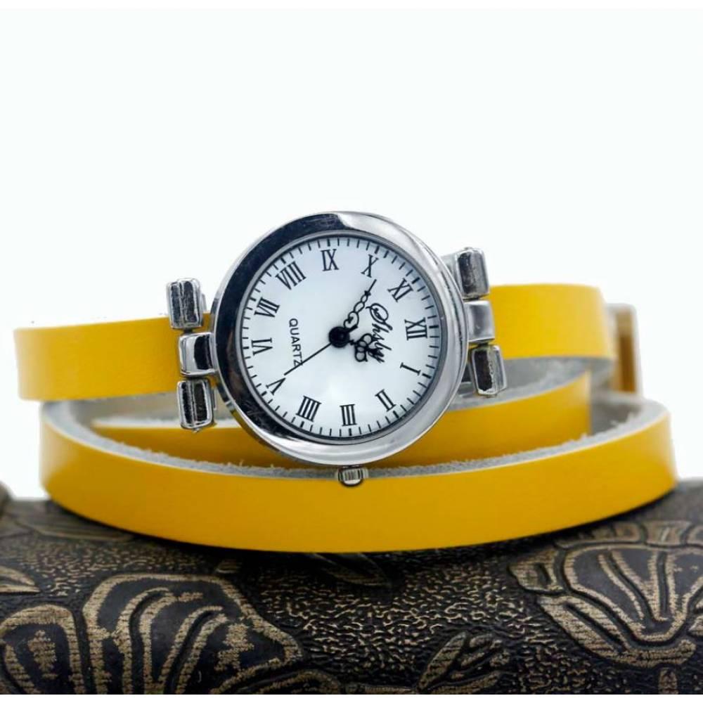 Женские Часы наручные с длинным ремешком, желтые 9431