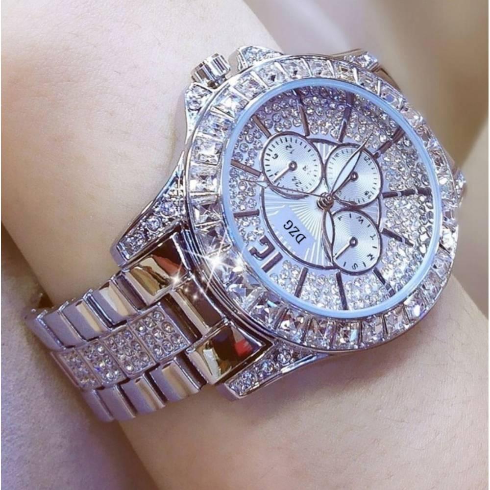 Женские Часы наручные в камнях, серебристые 9976