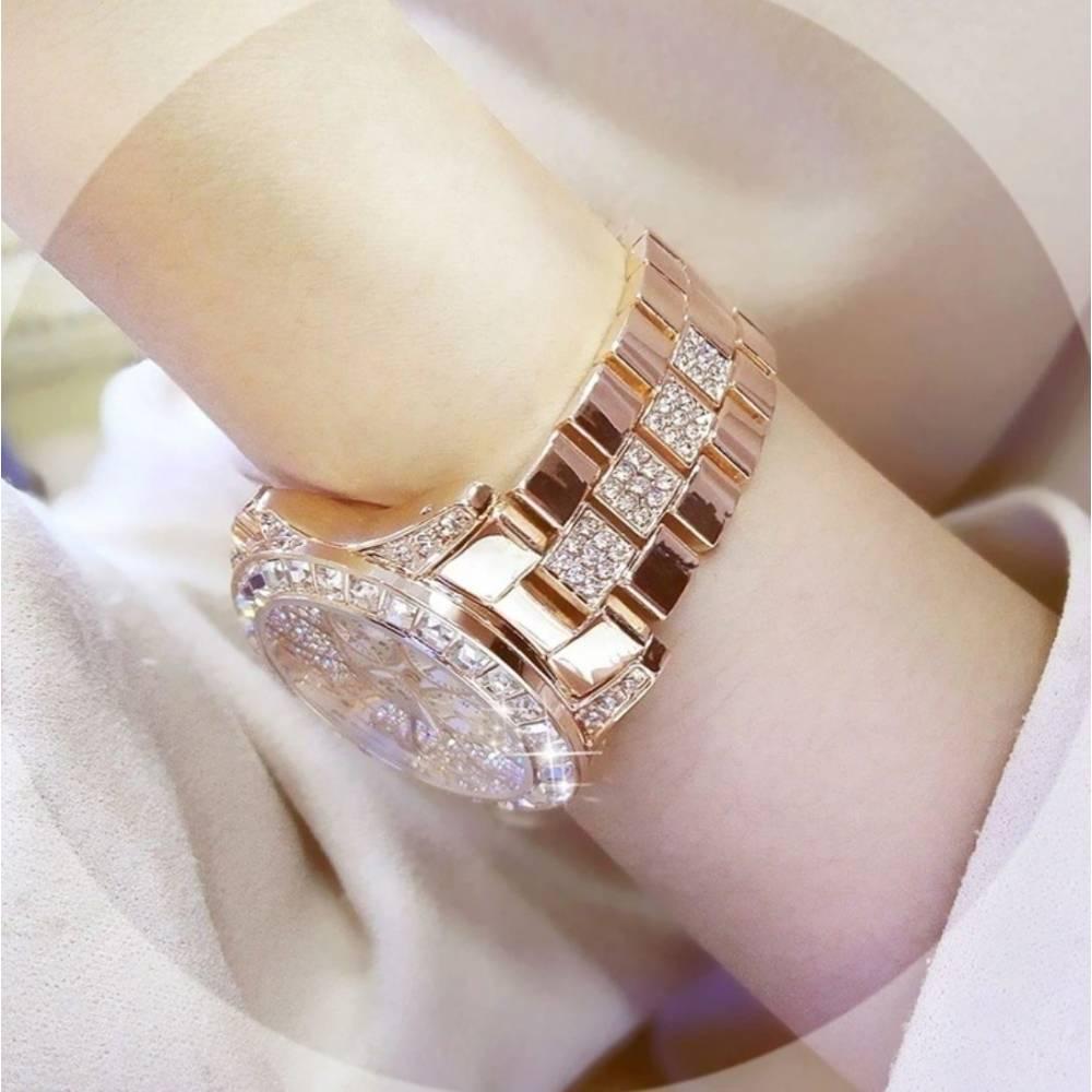 Женские Часы наручные в камнях, золотистые 9978